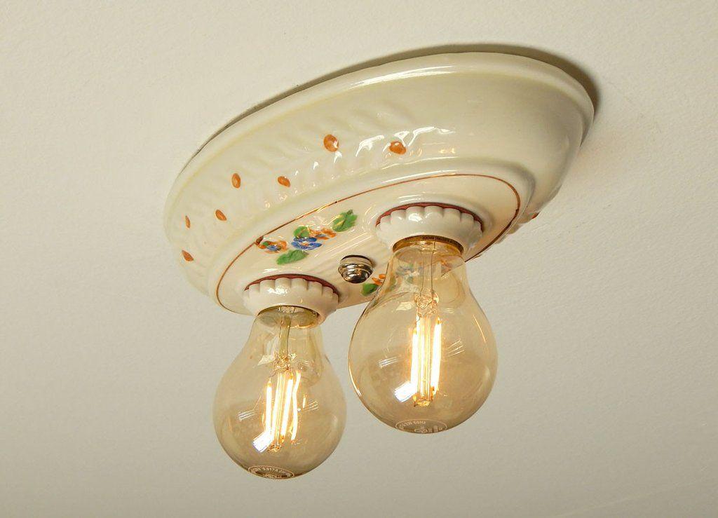 Antique Porcelier Brand Porcelain Flush Mount Ceiling Light | Flush ...