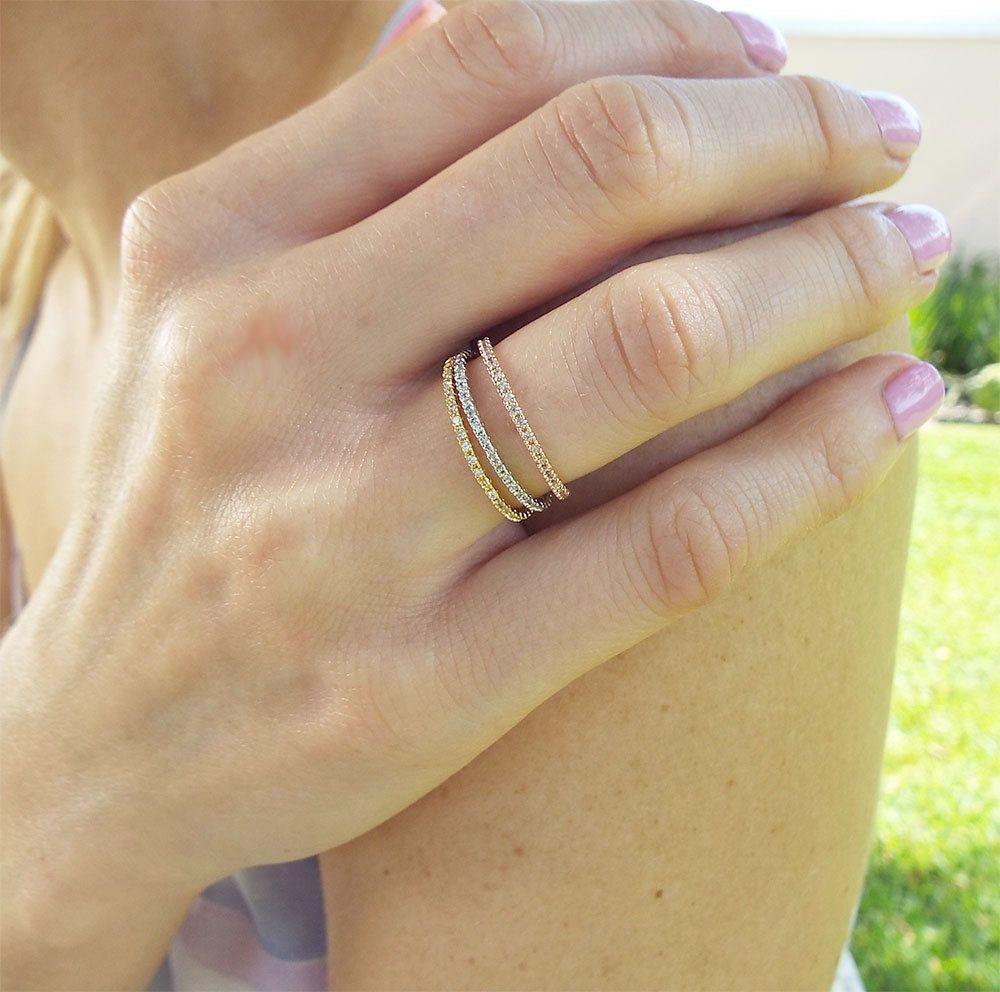 Rose Gold 1 mm Half Eternity Band CZ Diamond Ring Stacking