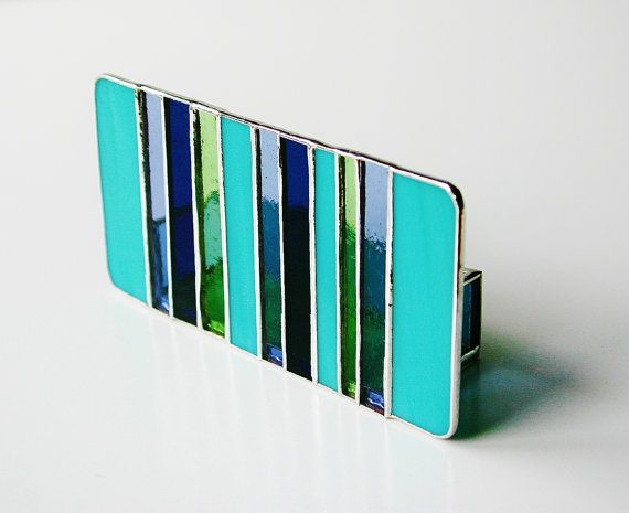 This Original And Modern Stained Glass Business Card Holder Was Created From Strips Of A Vintage