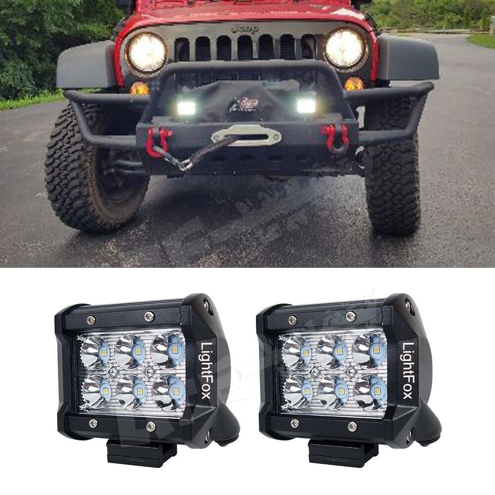 Led light bar light fox 2 pack 4 inch 18w led work light bars led light bar light fox 2 pack 4 inch 18w led work light mozeypictures Image collections