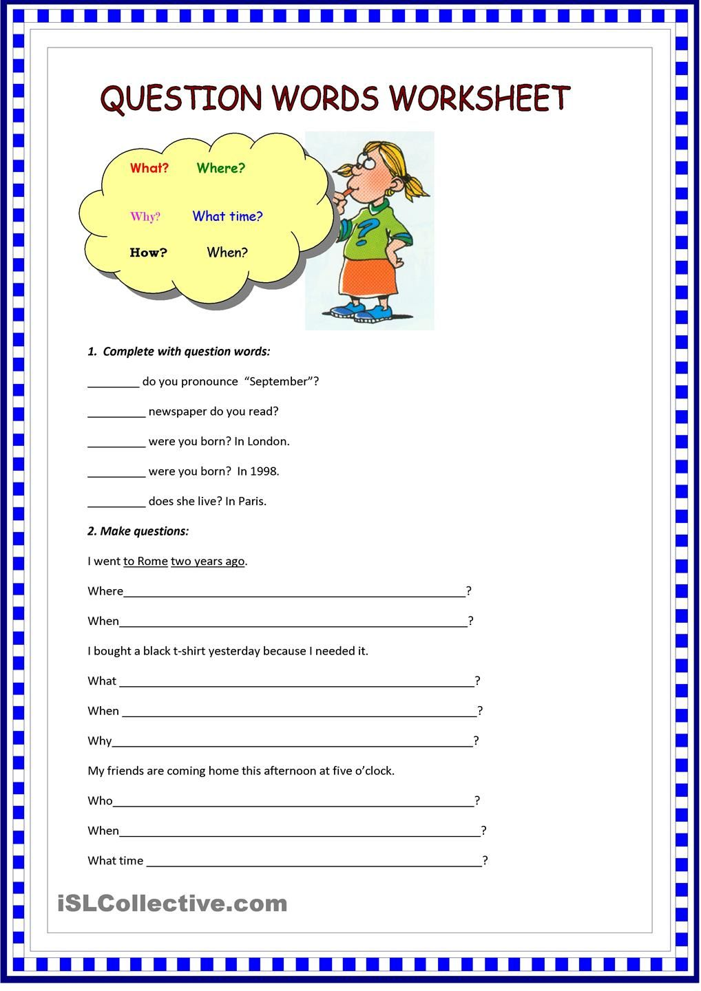 question words worksheet teaching 2nd grade pinterest worksheets english and teaching. Black Bedroom Furniture Sets. Home Design Ideas