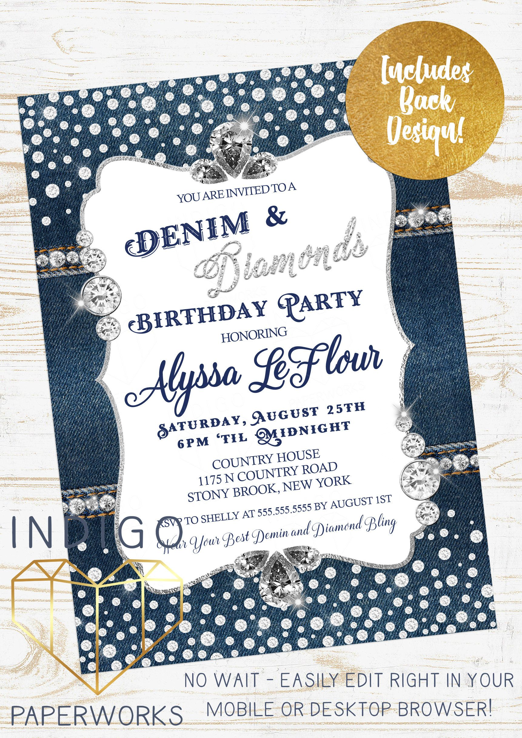 Denim and Diamonds Party Invitation Blue Jeans Bling Birthday