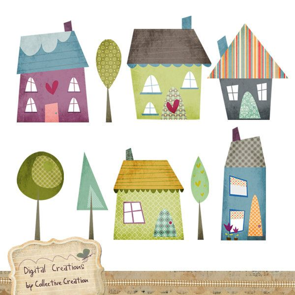 Little Houses Digital Clipart Set - Perfect for ...