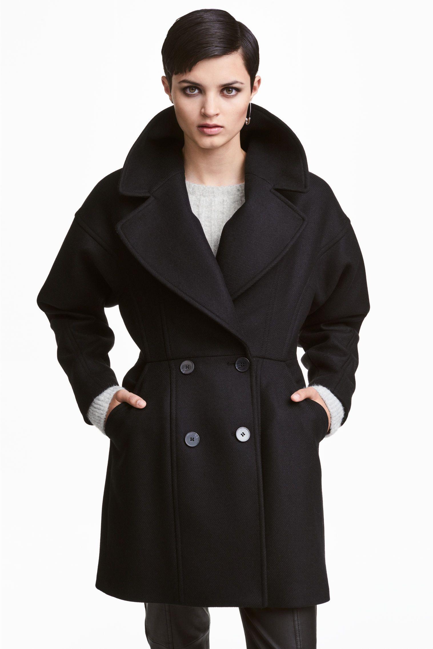 779f0106449f8 Manteau en laine mélangée   Black   White   Manteau laine, Manteau ...