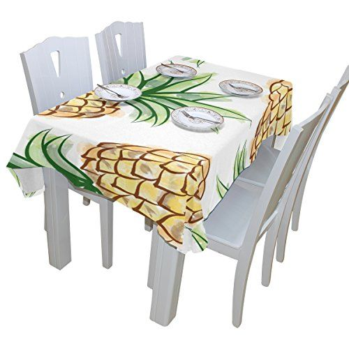 BAIHUISHOP Pineapple Watercolor Exotic Tropical Tablecloth Rectangular  Polyester Wedding Indoor Outdoor Oblong Dining Room Table Cloth