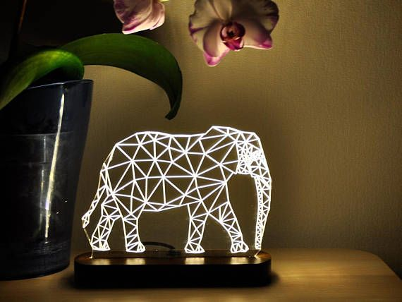 LED Night Light Elephant 3D Night Light Bedroom Decor Desk Lamp LED Light Acrylic Lamp LED Lamps Table Lamp Modern Lamp Home Decor Gift Idea #elephantitems