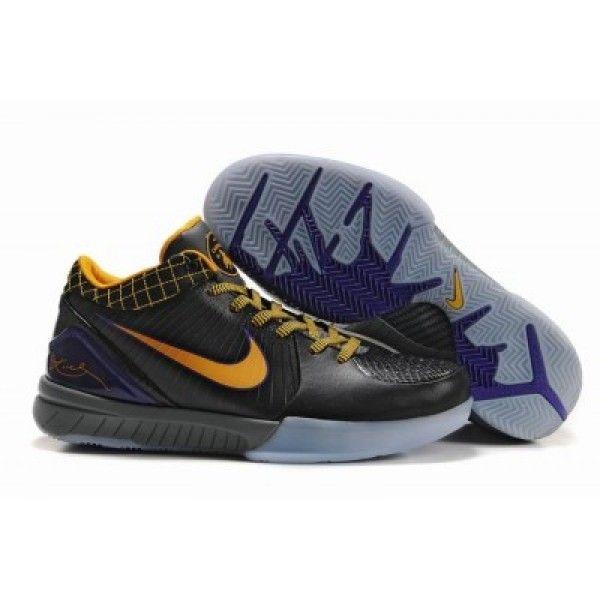 Nike Zoom Kobe IV Shoes Black Yellow Grey
