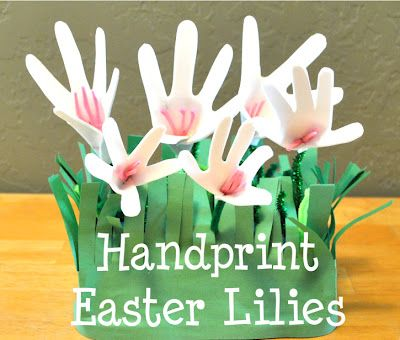 Toddler Craft - Hand Print Easter Lilies