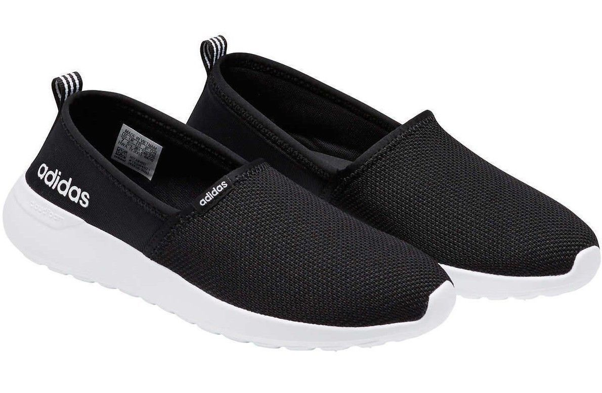 Adidas Neo Womens Black White Cloudfoam Lite Racer Slip On