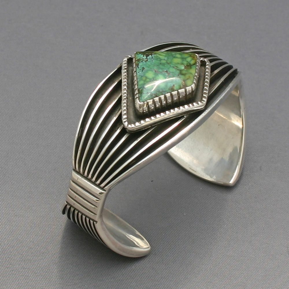 Turquoise sterling bracelet  Navajo style  Jim Saunders