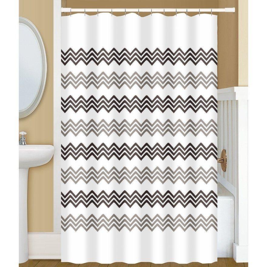 Gamma Extra Long Shower Curtain 78 X 72 Inch Small Chevron Stitch