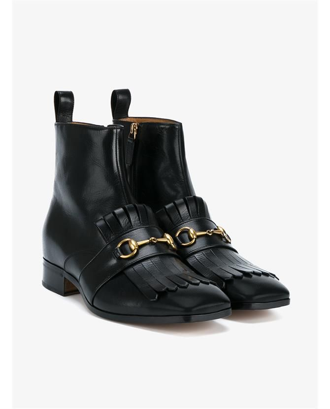 96dc38ac384 GUCCI Leather Tassel Boots With Horsebit.  gucci  shoes  boots ...