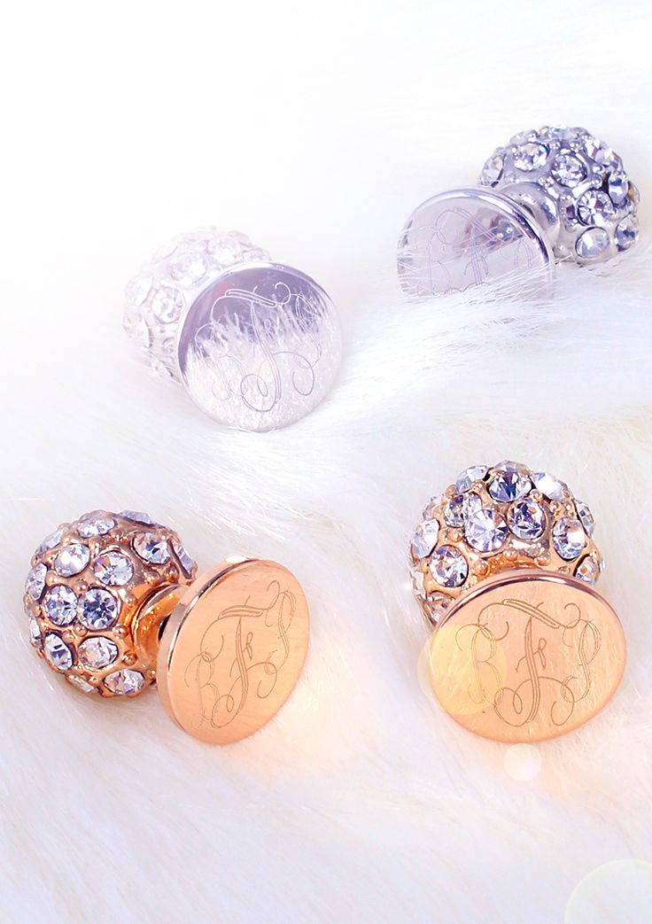 These Monogrammed Stud Earrings Come With Two Styles Of Earring Backs Rhinestone And Pearl They Are Also Reversable Only At Marleylilly