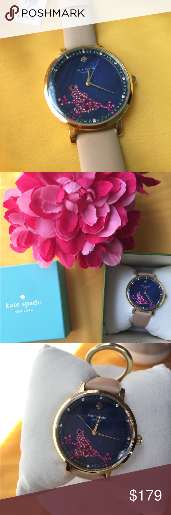Kate Spade pink crystal watch with leather strap. Kate ...