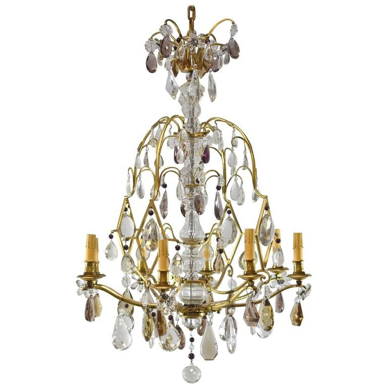 French Eight Light Chandelier With Topaz Amethyst And Clear Crystals Chandelier Chandelier Pendant Lights Chandelier Lighting