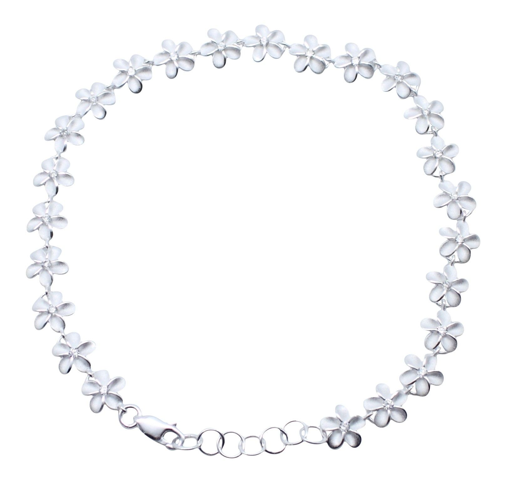 blue in with cz hawaii sparkle plumeria anklet