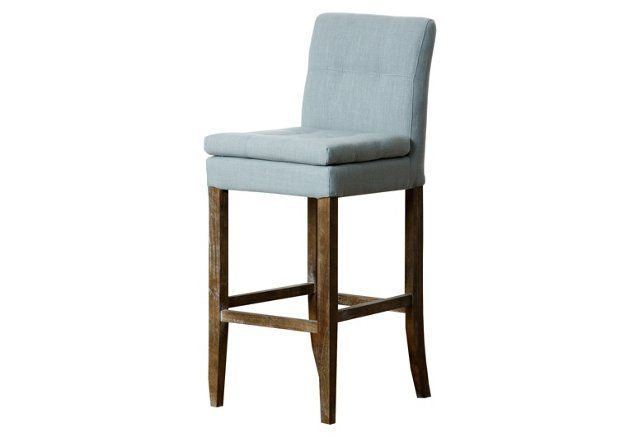 Surprising Chandler Linen Barstool Light Blue Client H Gmtry Best Dining Table And Chair Ideas Images Gmtryco