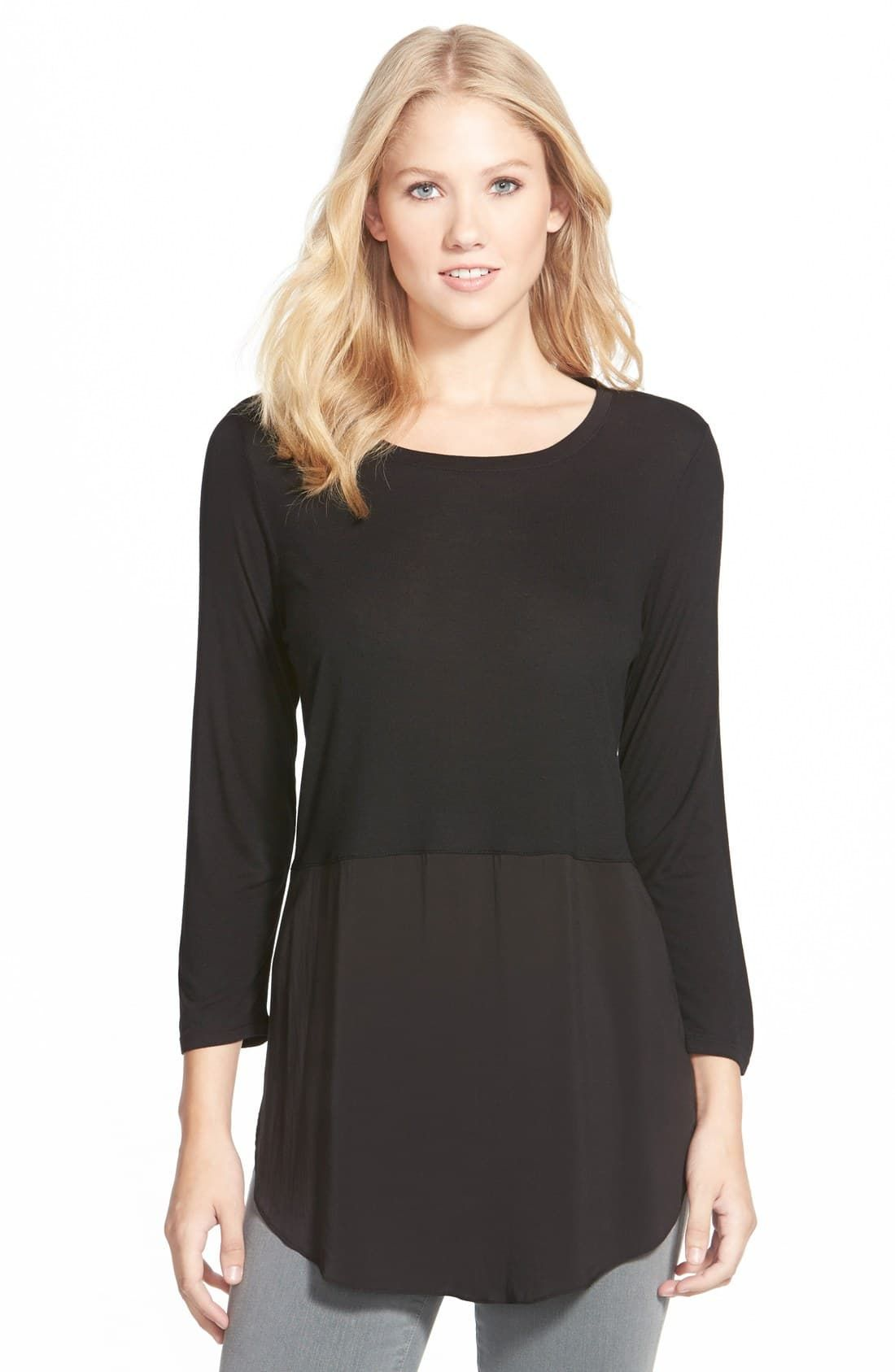 Two by Vince Camuto Mixed Media Jewel Neck Tunic | Women