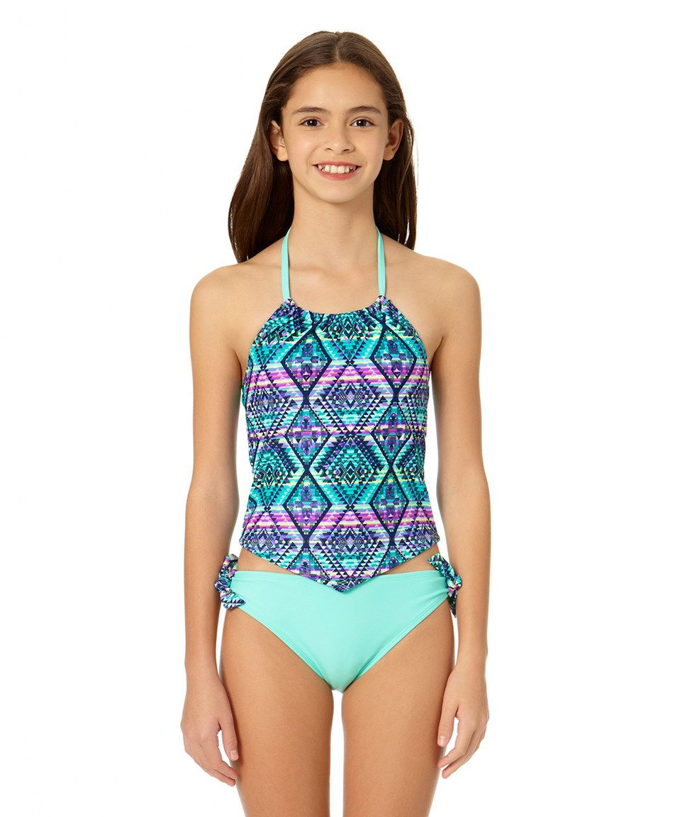 Take a look at this Indigo Geometric Tankini - Girls today!