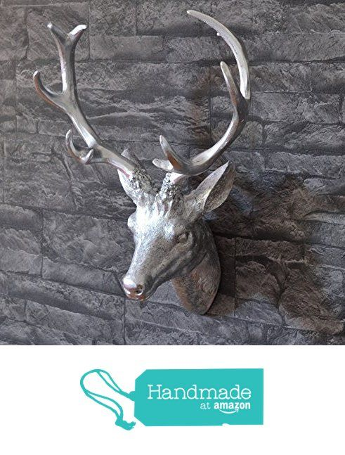 Versilberter Hirschkopf zur Wanddekoration #handmadeatamazon ...