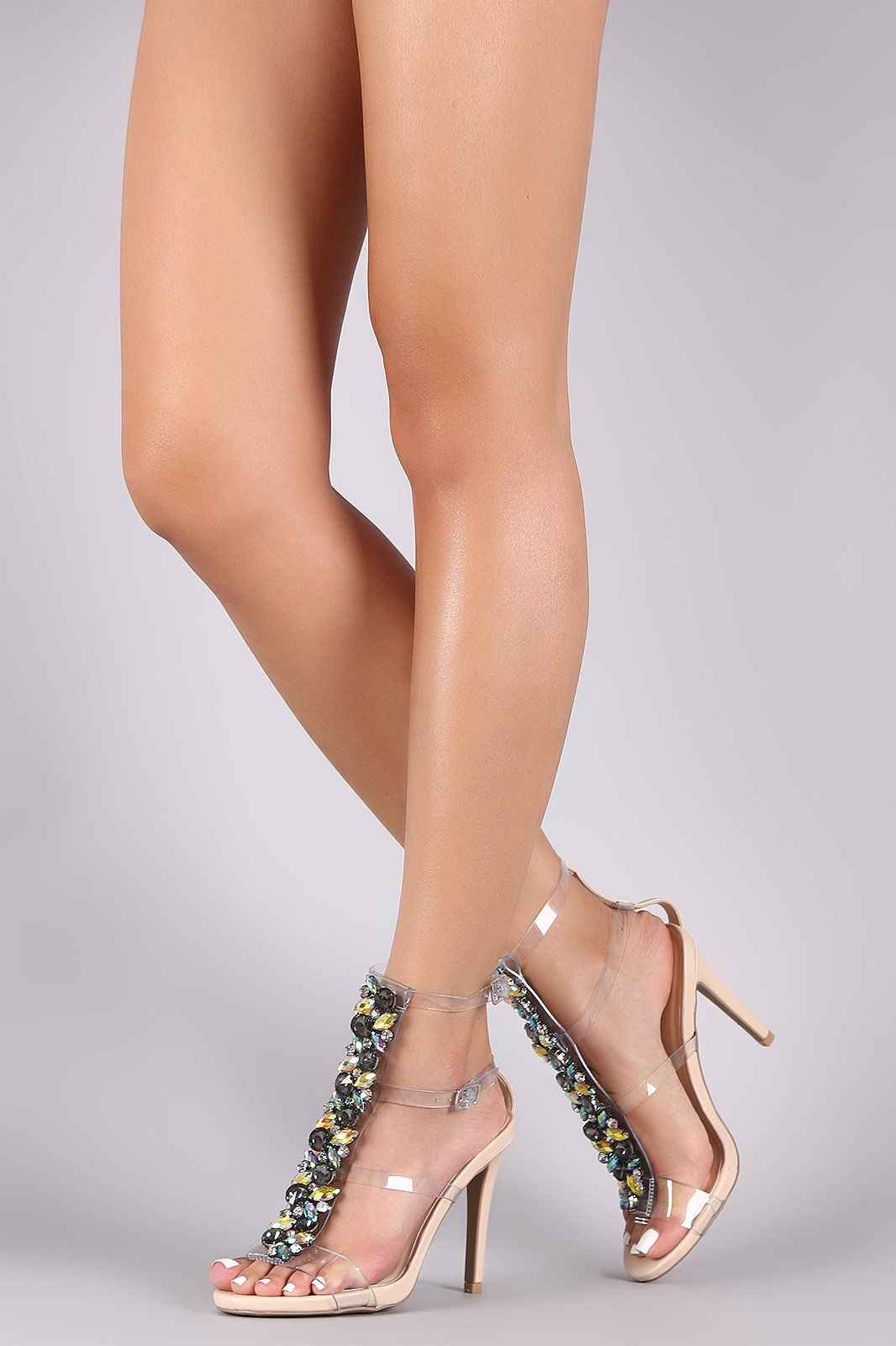aaff0805d6ac1f Qupid Jeweled Clear Straps Stiletto Heels. These dazzling heels feature a  strappy clear design with jewels accent