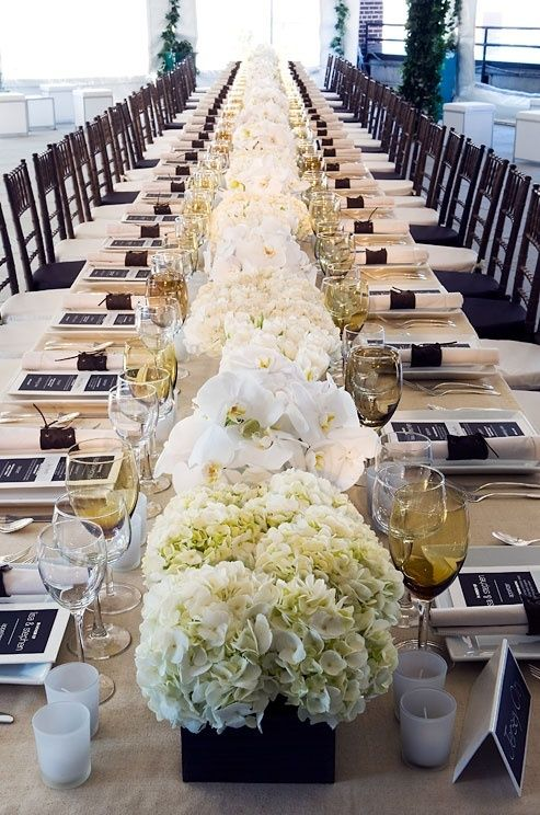 01ae311b76528933483d57f5500c81f5 Jpg 493 744 Long Table Wedding Wedding Centerpieces Hydrangea Centerpiece