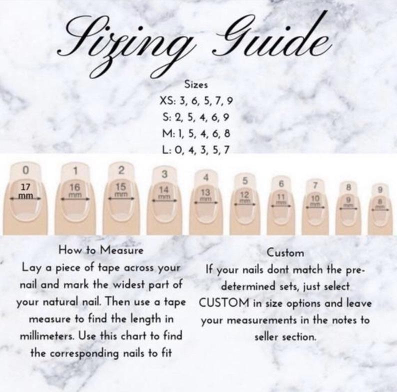 Custom Press On Acrylic Nails Set of 10 any Size