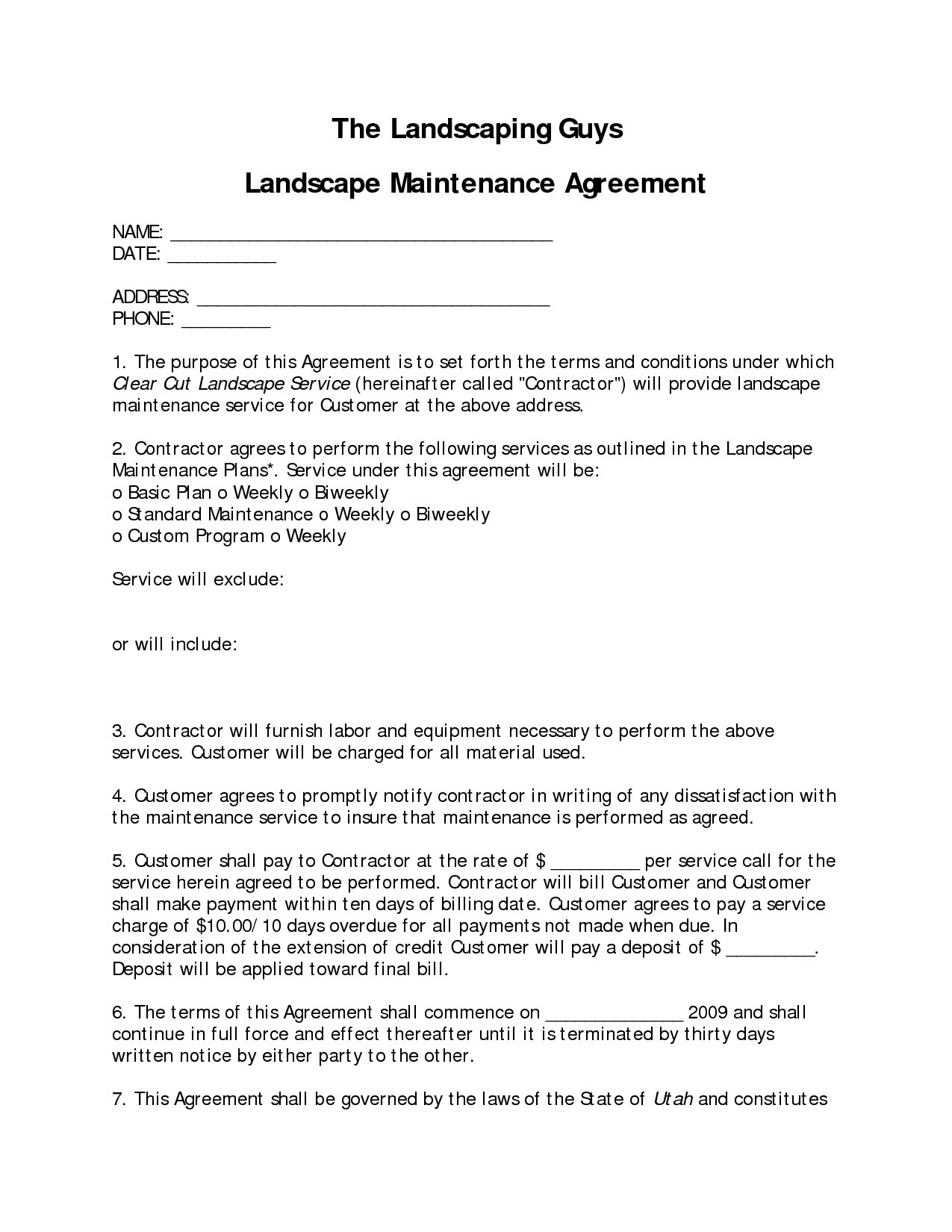 landscaping contract sample