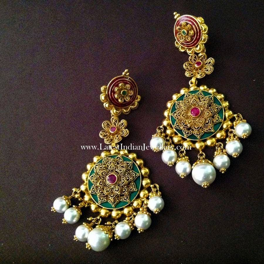 Modern Bridal Gold Earrings | Modern, Gold and Indian jewelry
