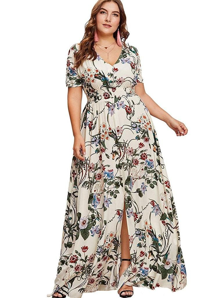 9f4d2ea823ecdf Bohemian floral print split maxi dress for plus size women Material  100%  Rayon This material is very special