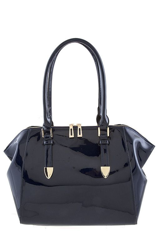 Navy Patent Purse with inside pockets and a back zipper pocket