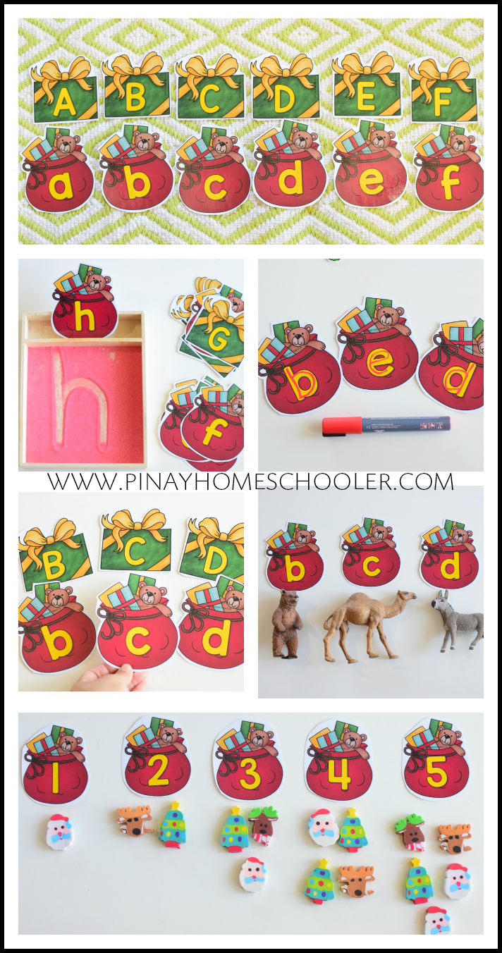 Santa's Present Letter and Number Cards Preschool
