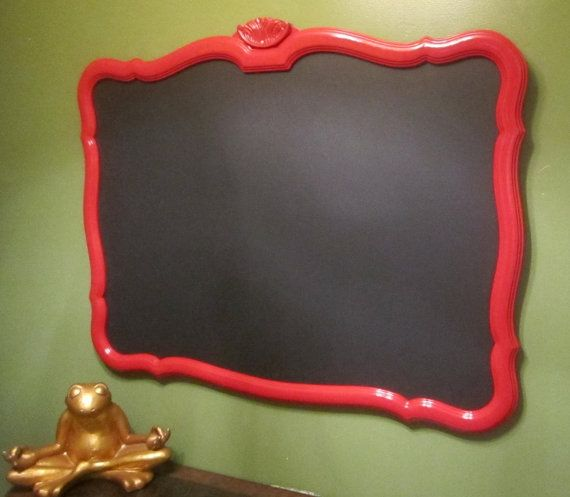 Vintage - Upcycled Mirror Frame Chalk Board - Red Frame / Black Board - Extra Large