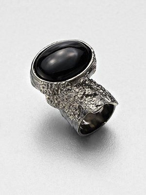 Want! Yves Saint Laurent Antique-Inspired Silvertone Arty Ovale Ring/Crimson