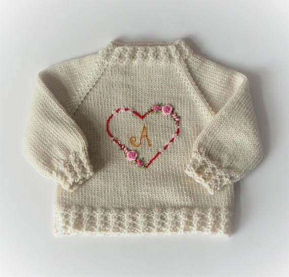 8b855fd7e Monogram sweater baby girl sweater heart embroidery cardigan flower ...