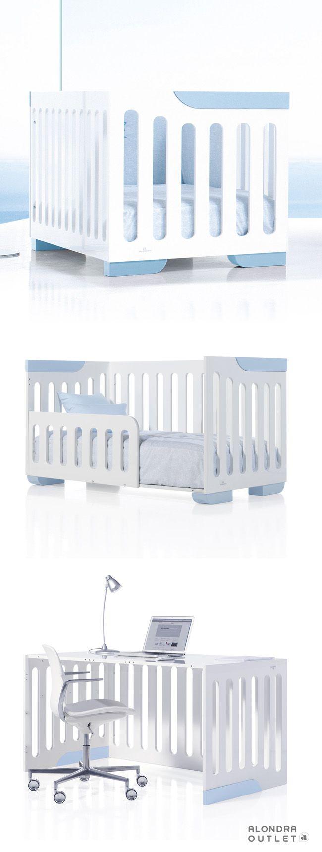 Cuna de bebé 70x140cm convertible en camita junior y escritorio ¡Una ...