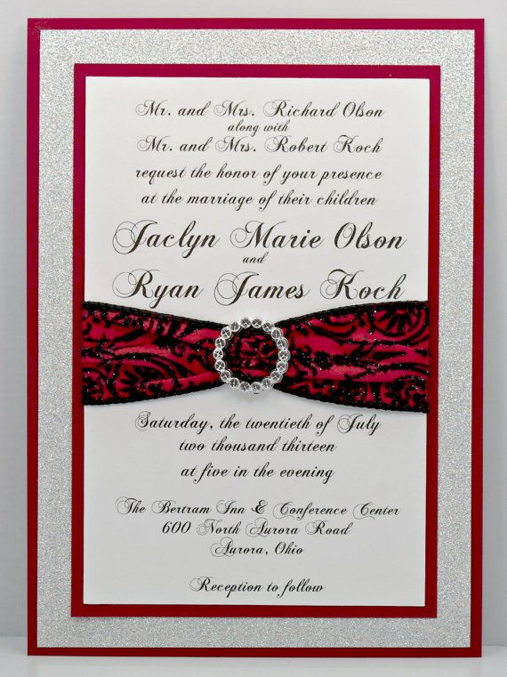 Stunning Red Black Amp Silver Wedding Invitation By