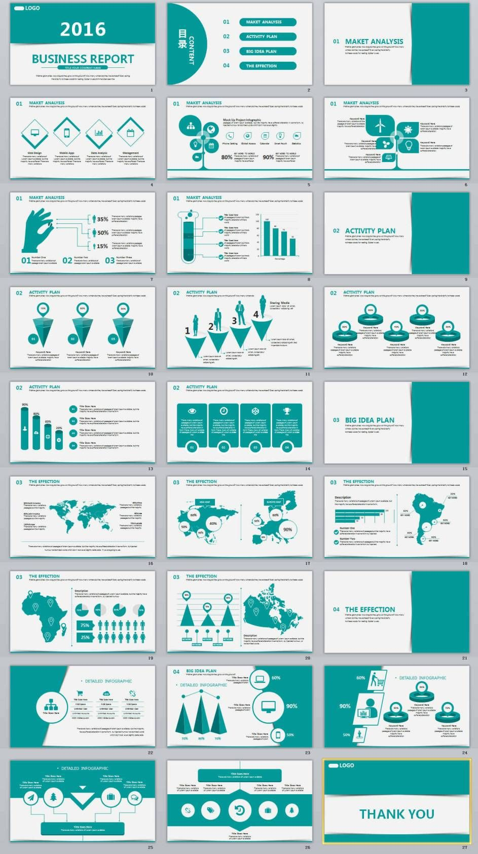 27 business report professional powerpoint template gradient