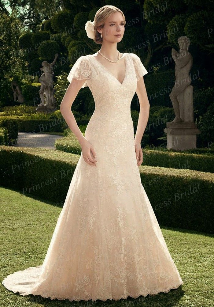 Click to Buy    Free Shipping Back Low Cut Bridal Gown Trumpet V ... 8ff046c6d0c8