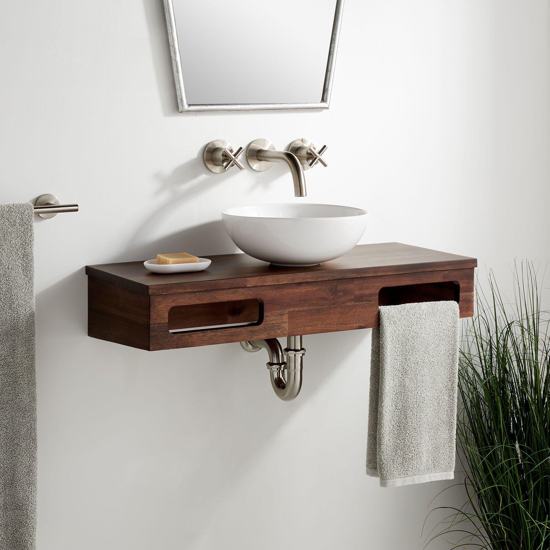 30 Nadiya Wall Mount Vessel Sink Vanity Chestnut Brown In 2021 Vessel Sink Vanity Vessel Sink Bathroom Sink Design