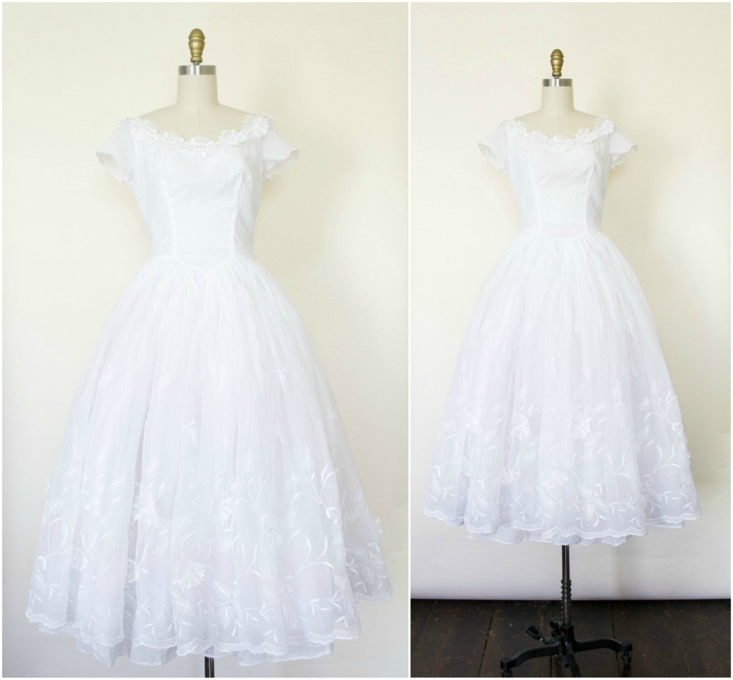S lace and tulle white tea length wedding dress with d flowers