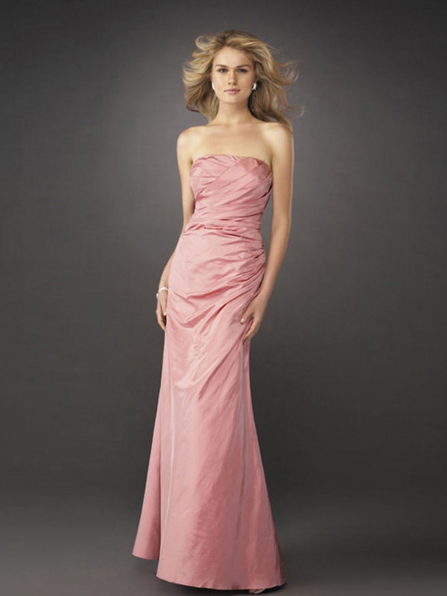 Simple A-line Style Strapless Pleated Full Length Evening Dresses ...