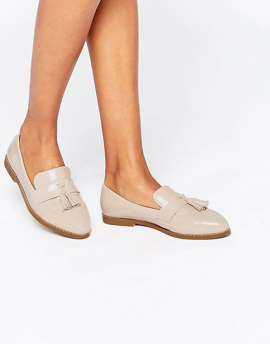 Daisy Street Nude Patent Tassel Flat Loafer Shoes at asos.com