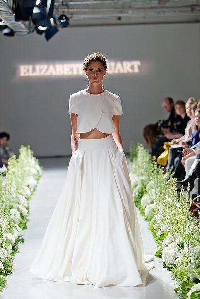 Two piece wedding dresses 2015 runway a line short sleeve floor two piece wedding dresses 2015 runway a line short sleeve floor length white satin bridal gowns long junglespirit Image collections