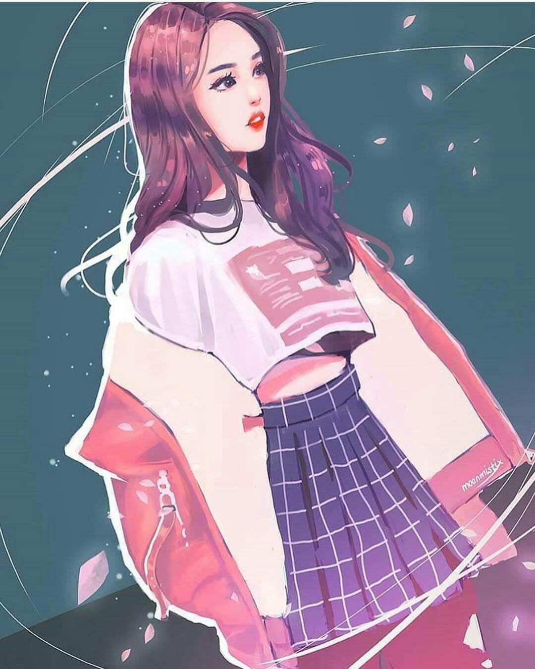 Картинки корейская девушка арт