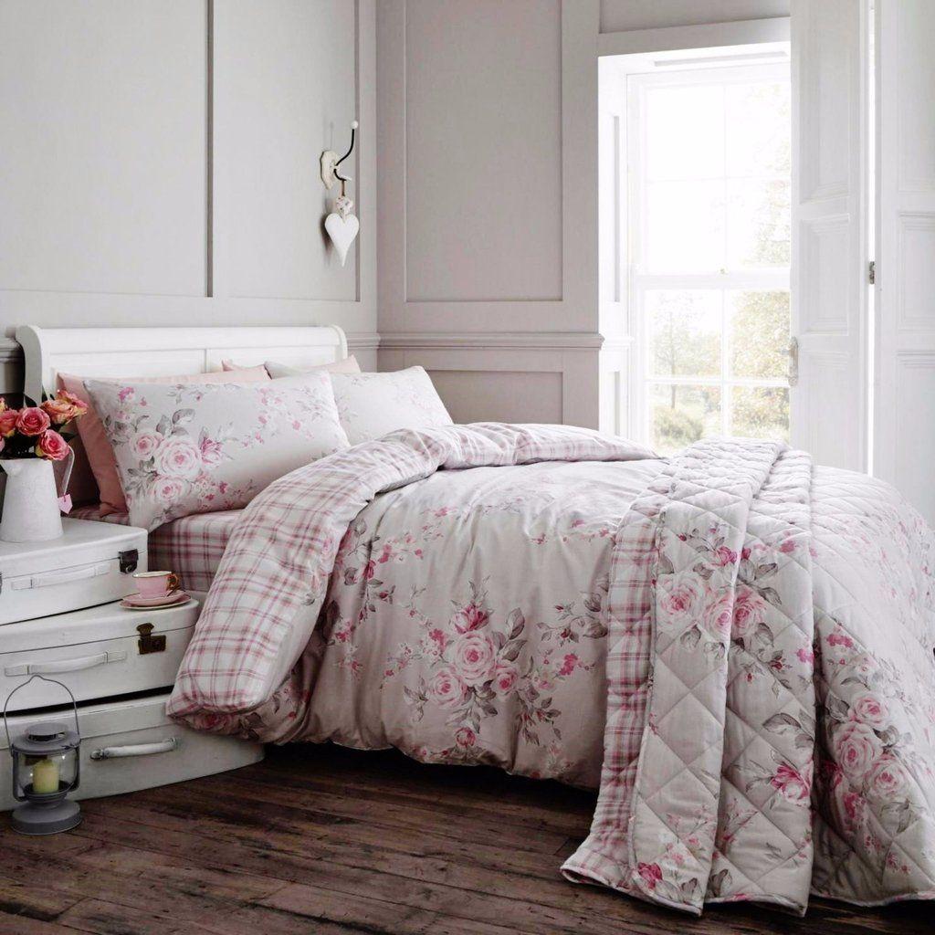 a87d2c0343d Canterbury Floral Tartan Grey Brushed Cotton Duvet Set