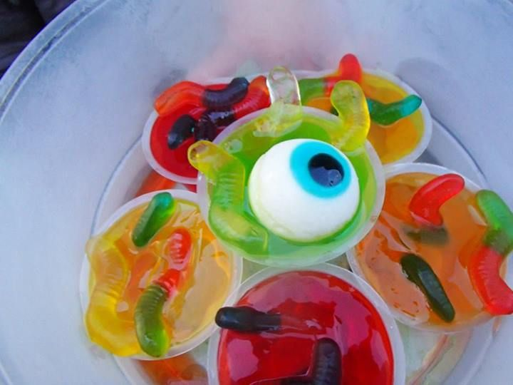halloween dessert jello gummy worms and marshmallow eyeball