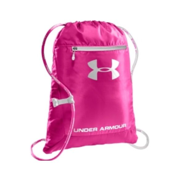 "Under Armour Sackpack Under Armour Sackpack in a pretty pink color with white accents. Brand new with tags and in original packaging! Has a front organizer pocket, 100% Polyster and adjustable single cording for comfort. L: 18"" H:14"". •No Damages•No Trades•No PayPal• Under Armour Bags Backpacks"