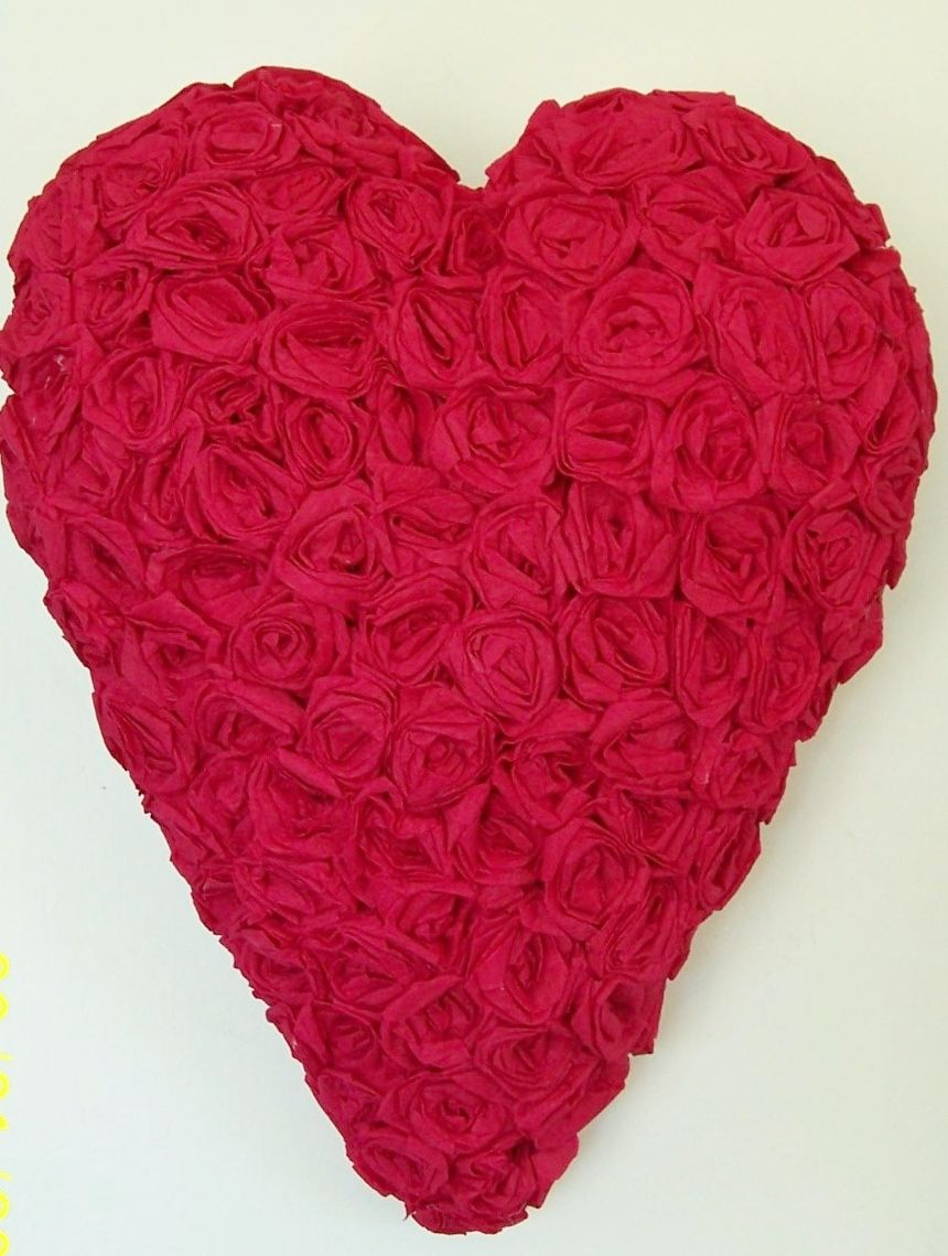 Crepe paper roses covering a chicken wirepaper mache heart crepe paper roses covering a chicken wirepaper mache heart jeuxipadfo Image collections
