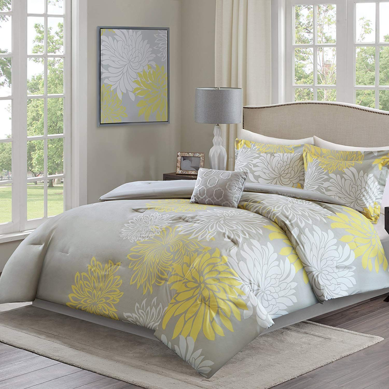 Comfort Spaces Enya Comforter Set 5 Piece Yellow Grey Floral Printed Full Queen Size Includes 1 Comforter Sets Yellow Bedding Floral Print Bedding